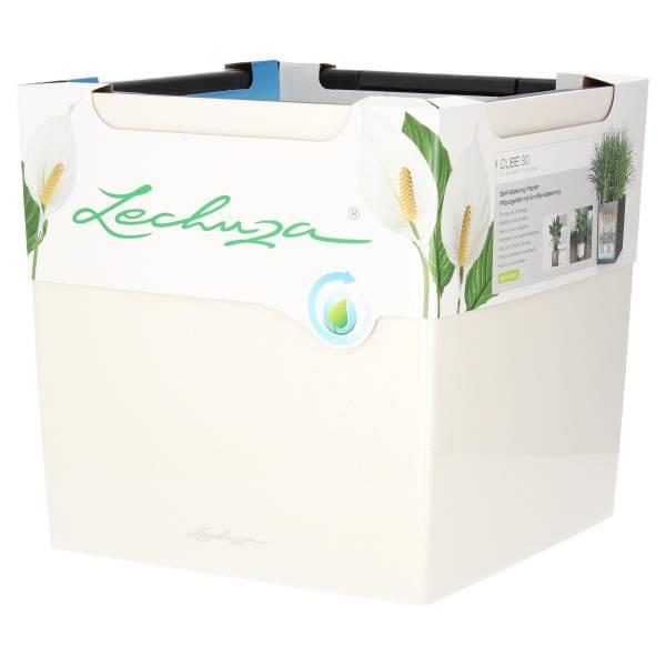 Lechuza Pflanzgefäß Cube 30 Weiß Hochglanz All-in-One Komplettset mit Wasserspeicher Produktansicht