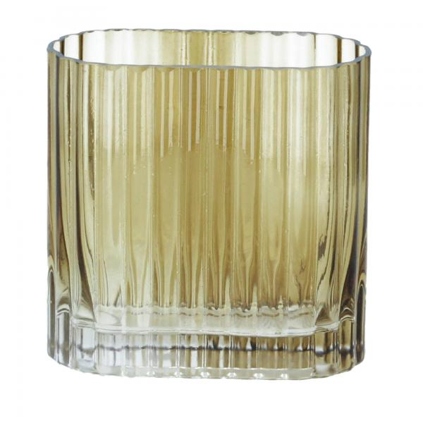 Bloomingville Vase Blumenvase 14 cm Glas braun von vorne