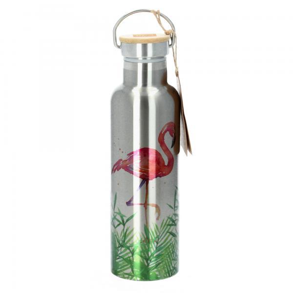 ppd Trinkflasche Edelstahl Isoflasche Tropical Flamingo 750 ml von vorne
