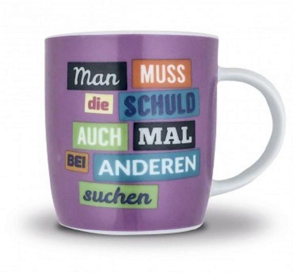 """Sticky Jam Kaffeebecher """"Schuld suchen"""" Kaffeetasse Tasse Becher Porzellan"""