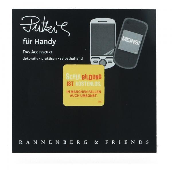 """Handy-Putzi """"Schulbildung ist kostenlos"""" Rannenberg & Friends Handy Putztuch Displaytuch Produktansicht"""
