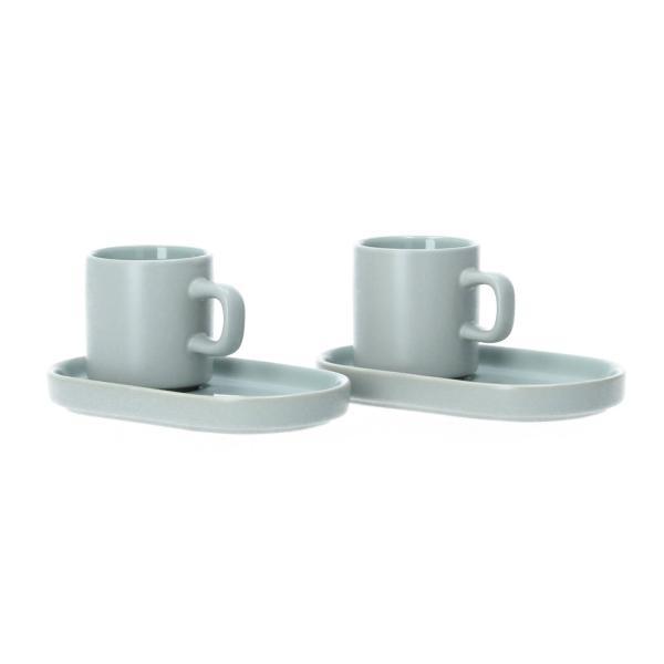 Blomus Pilar 2 Espressotassen mit Untersetzer Keramik mirage grey grau Perspektive