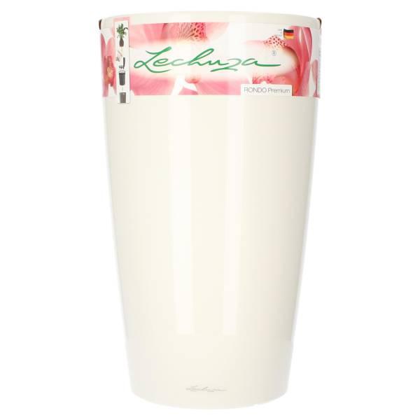Lechuza Pflanzgefäß Rondo 32 Premium Weiß Hochglanz All-in-One Komplettset mit Wasserspeicher Vorderseite