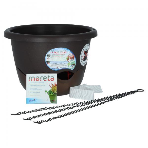 Plastia Mareta Blumenampel Braun / Bronze 30 cm Überlauf Wasserspeicher Produktansicht
