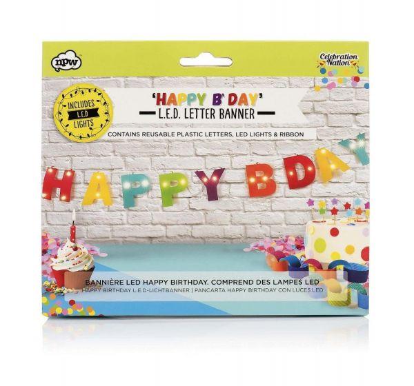 NPW LED Happy Birthday Lichtbanner Geburtstag Herzlichen Glückwunsch Party