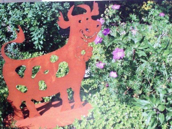 """Ferrum Edelrost """"Kuh mit Blume"""" Bauernhof Stall Metall Tiere Rost Eisen Garten Liserotte"""