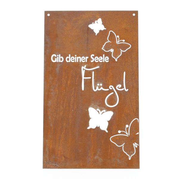 Lünemann Edelrost Spruchtafel Schmetterlinge Gedichttafel Produktansicht