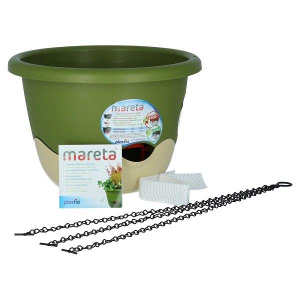 Plastia Mareta 30 cm Blumenampel Grün Elfenbein mit Wasserspeicher und Überlauf Lieferumfang