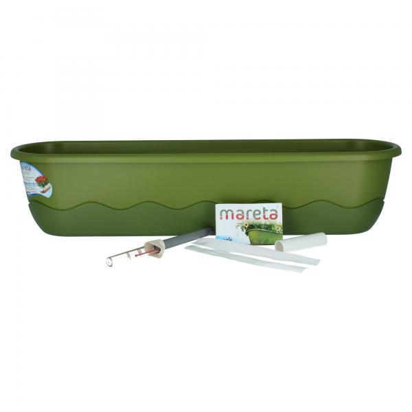 Plastia Mareta Blumenkasten grün /grün 80 cm Wasserspeicher mit Überlauf Produktbild