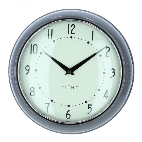 Plint Wanduhr Küchenuhr Retrouhr Uhr Retro almost black schiefergrau Produktfoto