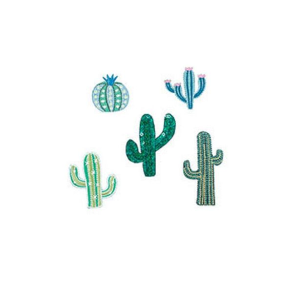 Kikkerland Iron-on Patches Cactus 5er Set Aufbügelflicken Flicken Kaktus Bügeln PA004