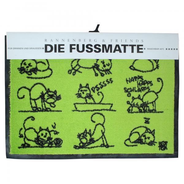 """Rannenberg & Friends """"Hartmut seine Katse"""" Fußmatte Fußabtreter 50x70cm Produktansicht"""