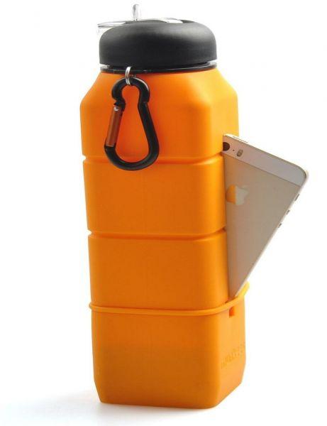 Munkees Sound Bottle Orange Sport Silikon Trinkflasche Camping Schule Handyhalter Lautsprecher Reise