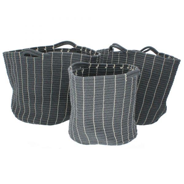 3er Set Henkelkorb rund aus Baumwolle grau Hübsch Produktbild