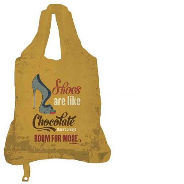 "Rannenberg ""Shoes are like chocolate"" Einkaufs-Beutel Tasche Shopper Polyester Bag Groß Tragetasche Produktfoto"