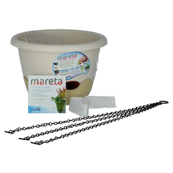 Plastia Blumenampel Mareta 25cm elfenbein weiß mit Kette Wasserspeicher Produktansicht