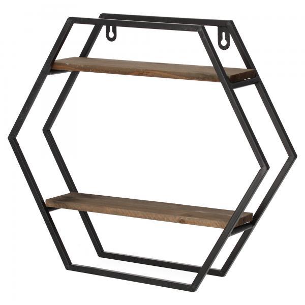 Dijk Natural Collection Wandregal Metall/Holz Hexagon Wandboard Produktansicht