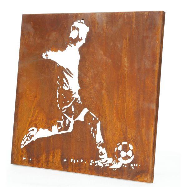 Lünemann Edelrost Wandbild Fußballer Wandtafel Produktansicht