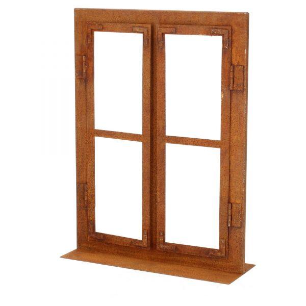 DEWOGA Deko-Fenster auf Platte 80x60cm Edelrost Rost Metall Garten Neu Produktansicht