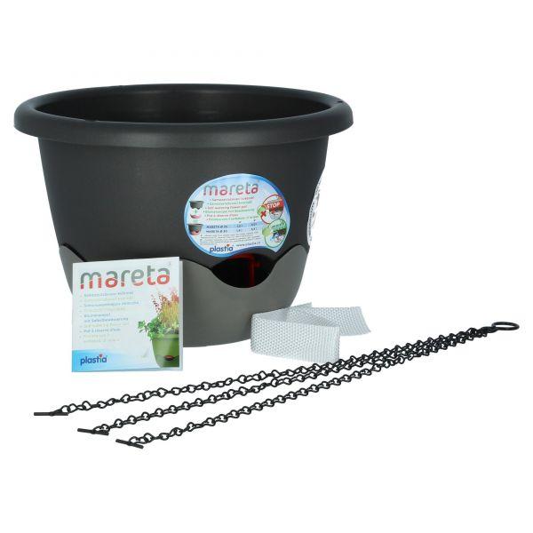 Plastia Mareta Blumenampel Grau Anthrazit 30 cm Überlauf Wasserspeicher Produktansicht