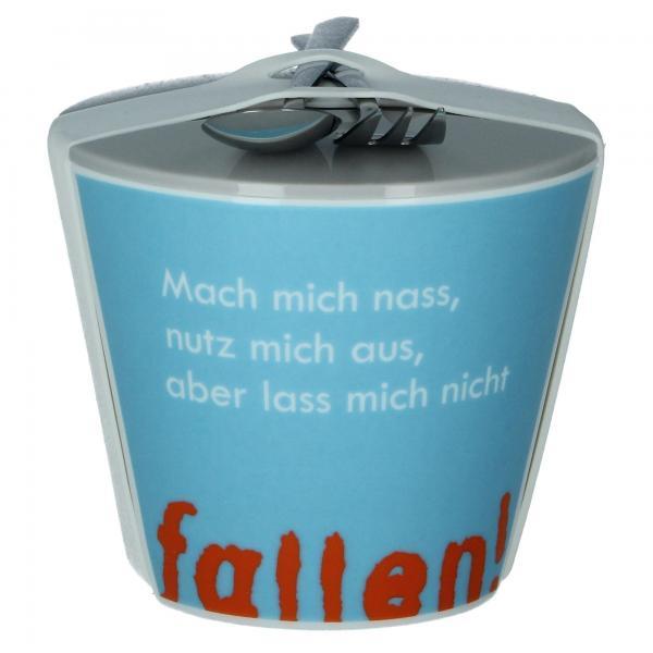 """Rannenberg """"Fallen lassen"""" Snack To Go Becher mit Besteck Snackbecher Vorderseite"""