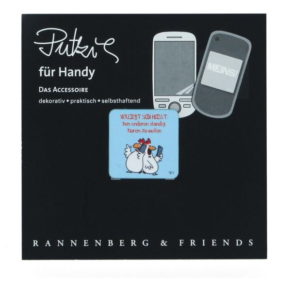 Handy Putzi Verliebt sein 3x3 cm Rannenberg & Friends Putztuch Displaytuch Mikrofaser RHP128