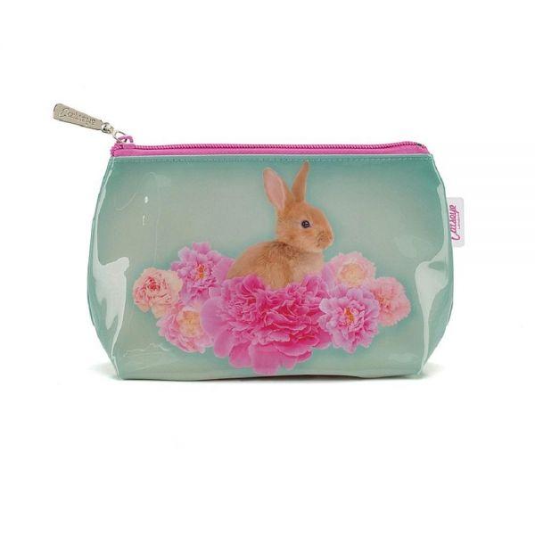 """Jellycat Washbag """"Bunny on Flower"""" Kulturtasche Groß Schminktasche Hase"""
