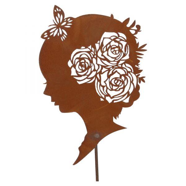 Ferrum Blumenkopf Silhouette auf Platte H: 61cm x B: 33cm Rost Dekoration Vorderseite