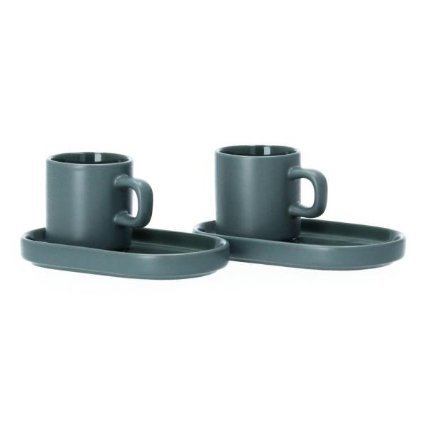 Blomus Pilar 2 Espressotassen mit Untersetzer Keramik agave green grün Perspektive