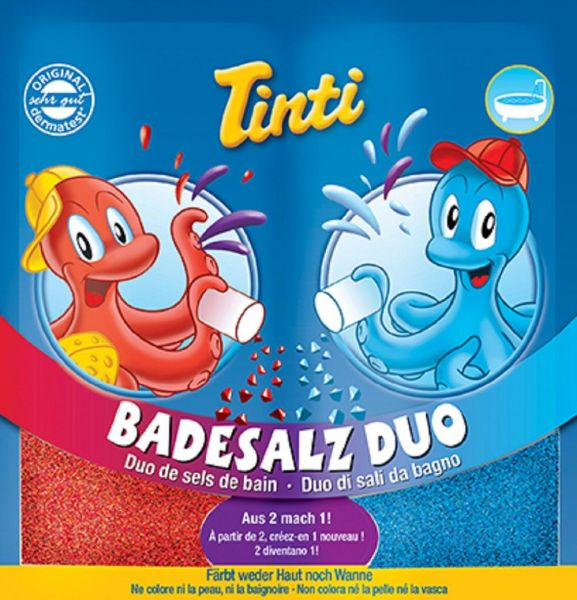 "Tinti Badesalz Duo ""Rot-Blau"" Bad Baden Kinder Baby Party Badespaß"