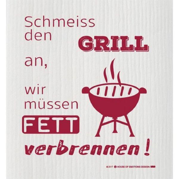 House of Emotions Spüllappen Putzlappen Spültuch Schmeiss den Grill an Produktansicht