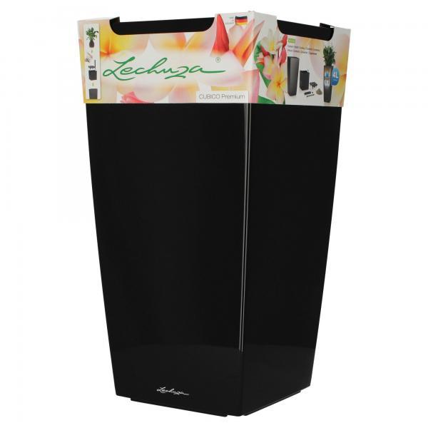 Lechuza Pflanzgefäß Cubico 30 Premium Schwarz Hochglanz Komplettset mit Wasserspeicher Produktbild