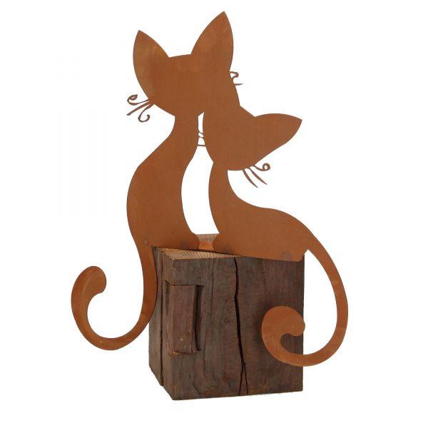 Kantenhocker Katzenpaar Edelrost Ferrum Gartendekoration Figur Skulptur Rückseite