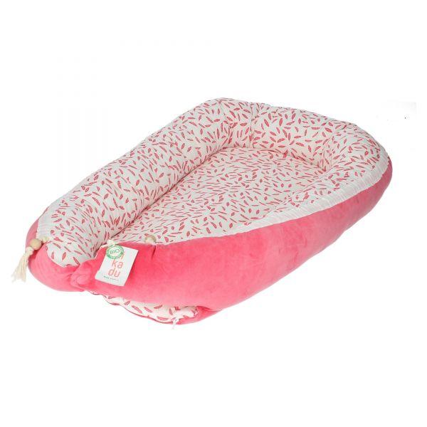 Kikadu mobiles Babybettchen Babynest Feather Feder pink weiß Baumwolle Produktansicht