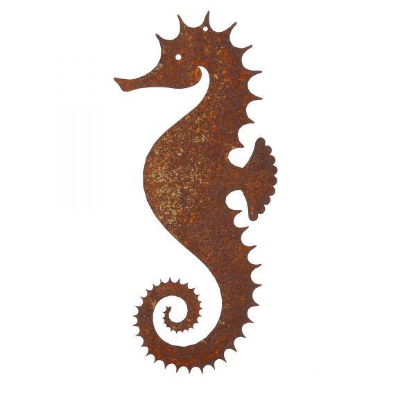 Saremo Edelrost Dekoelement Seepferchen zum Aufhängen klein Edelrostdekoration Produktansicht