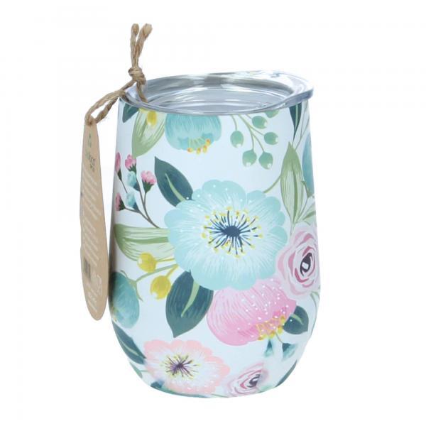 Chic Mic bioloco Trinkbecher 420 ml Edelstahl pastel flowers Blumen Produktbild