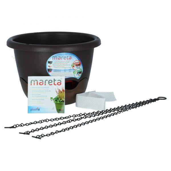 Plastia mareta 25 cm Braun Blumenampel mit Wasserspeicher und Überlauf Produktansicht