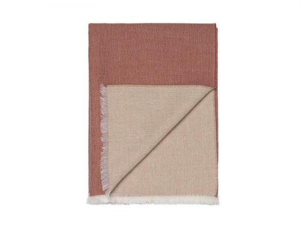 Elvang Überwurf Tagesdecke 130x200 cm Alpaka Wolle weiß rostrot Produktbild
