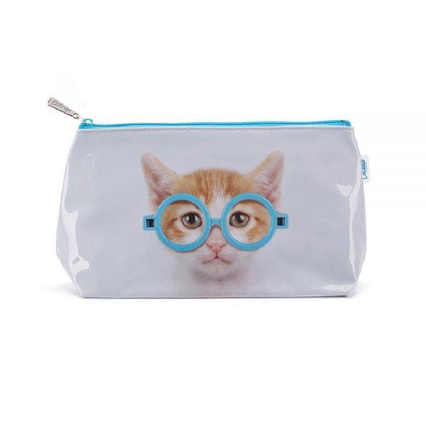 """Jellycat Kulturtasche """"Glasses Cat"""" Katze mit Brille Schminktasche Washbag Reise"""