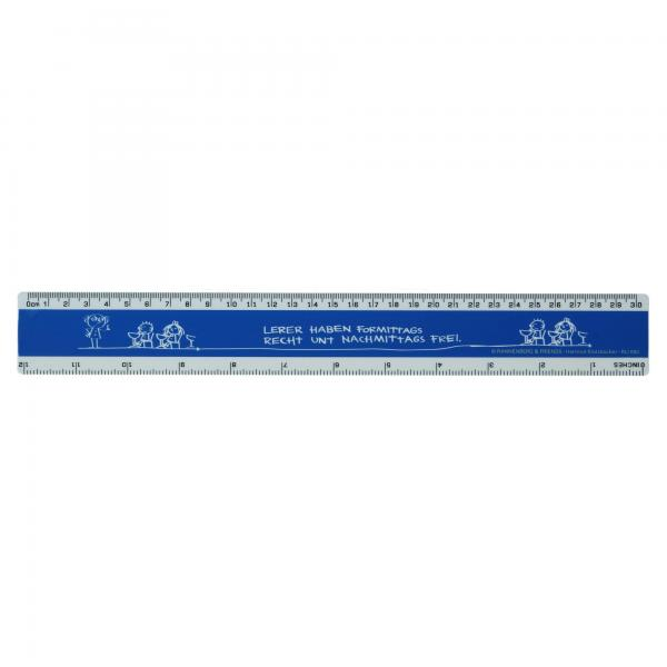 "Rannenberg & Friends ""Lehrer"" blau Lineal 31cm Schullineal Kunststoff Neu"