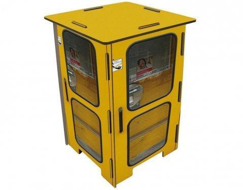 """Werkhaus Photohocker """"Telefonzelle gelb"""" Sitzhocker (SH8060) Hocker zerlegbar MDF Tisch Party Produktbild"""