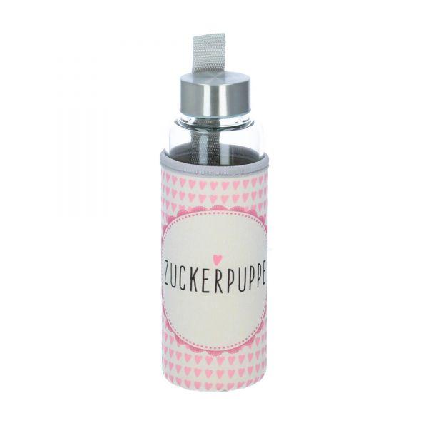 Glasflasche mit Schutzhülle Zuckerpuppe 350 ml Produktbild